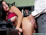 Bratty brunette came to put up with coach and had wild sex in teacher's room 7