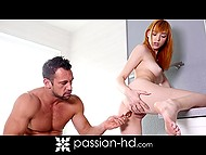 Red-haired girl was watching sexy body in front of the mirror before man invited her for anal sex 7
