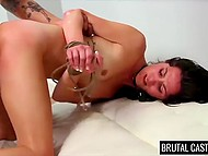Brunette was embarrassed to show breasts and for sure didn't expect to be fucked roughly by porn agent 6