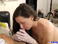 One cock was not enough for insatiable British Lara, so she asked old man to keep their company 11