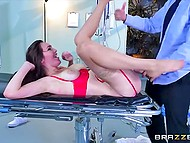 Surprised patient focused attention on nurse who began to blow doctor's cock in front of him 9