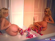 Light-haired lassie used vibrating ring to masturbate and it made her squirt on the mirror 4
