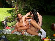 Picnic in the fresh air quickly turned into group sex between two girlfriends and gardener 7