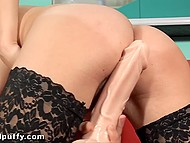 Flesh-colored dildo stimulates excited pussy being driven by slender beauty in lace stockings 11
