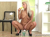 Teenage whore poured banana with her pee before improving cocksucking skills with it 5