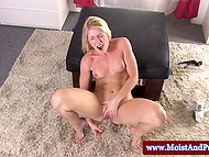 Nipples of blonde girl are getting bigger under the pressure before she impales pussy with dildo 11