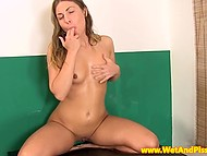 Teenage girl sits in her own pee and stimulates pussy with vibrator but doesn't afraid of potential electric shock 11