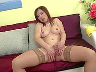 Masturbatrix with big breasts shows off her new dildo on camera before uses it properly 4