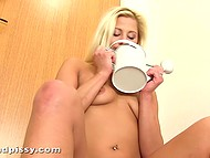 Watering can for flowers was spacious and blonde girl gathered pee there and poured her goodies 9