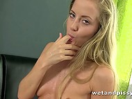 Young pervert pissed in fruit bowl and poured warm pee on skinny body to entertain herself 7
