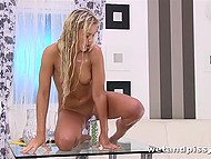 Beautiful Czech Dido Angel poured own urine over herself and rode transparent dildo 8
