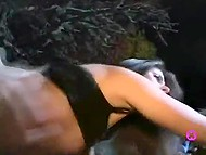 French beauty Adrianna Laurenti in leopard panties and beau indulge in passion under the stars 6