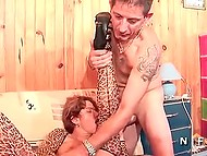 Anus of French dame in leopard outfit turned to be so wide that comrades were capable of fitting their rods inside 10