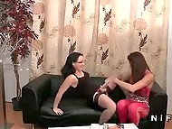 Two salacious French women put strapons on and owned bearded buddy's anal hole 3