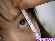 Besides vision test, doctor examined and measured carefully Asian schoolgirl's wooly cunny 4