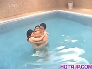 Dude with glasses was intimate with two Asian girls after swimming together in the pool 4