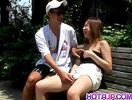 Compact vibrator helped guy to work out Asian's fluffy and got handjob in gratitude 4