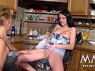 Long-legged girl was in agreement with married German couple to have a little fun in spacious kitchen 6