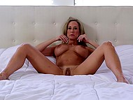 After taking off the dress and lying on the bed, fabulous Brandi Love started to finger vagina 4