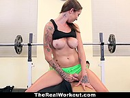 Tits of naughty sportswoman motivated young dude to take next weight but warm pussy forced him to forget about barbell 6