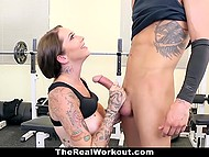 Tits of naughty sportswoman motivated young dude to take next weight but warm pussy forced him to forget about barbell 7