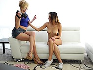 Talkative babe tells to experienced porn actress a little about herself before takes part in threesome at the casting 4