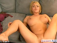 Housewife wants to help her stepson so they fuck on sofa and she gets a cumshot right into mouth 9