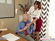 Boss was ready to give a raise to dark-skinned employee Serena Ali as soon as his balls became empty 4