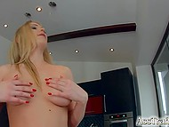 Smiling sexpot Lucy Heart takes part in ass-fucking act and gladly swallows man's juice 4