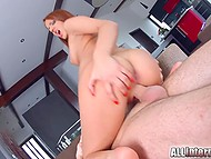 Red-haired cute girl warms up her pussy with vibrator during sex with boyfriend 8