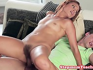 Slender raven-haired hottie caught her stepmother with boyfriend and joined them in the bed 7