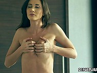 Beautiful girl can just tickle her little pussy to fight boredom in the hall without furniture 4