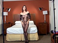 Chrissy Marie's erotic photo session started with posing in lace bodystocking and she stripped to the naked 4