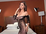 Chrissy Marie's erotic photo session started with posing in lace bodystocking and she stripped to the naked 5