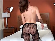 Chrissy Marie's erotic photo session started with posing in lace bodystocking and she stripped to the naked 8