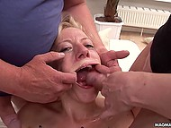 Fuckers blasted sperm on whore's satisfied face after explored the depths of her mine 10