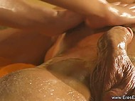 Naked masseuse oiled and teased erect boner of pleased client in relaxing ambiance 10