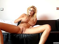 Beautiful blonde Holly Anderson sets camera in front of her naked pussy for masturbating session 10