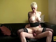 Twat of voluptuous slut with short hair squirts profusely because of mad anal sex with partner