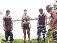 Teachings of the Russian army where light-haired female soldier was punished by three colleagues 4