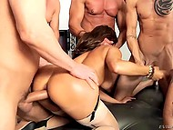Busty MILF is a true whore and gangbang with triple penetration is not a big deal for her 5