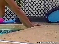 Naughty couple installed camera on the side of the pool to record their ardent fucking 5