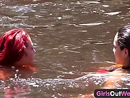 Brunette driver and red-haired passenger stopped off to swim in the river and eat cunnies 7
