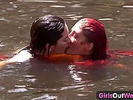 Brunette driver and red-haired passenger stopped off to swim in the river and eat cunnies 8