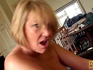 Chesty whore with short haircut receives genuine pleasure submitting to strict comrade 8