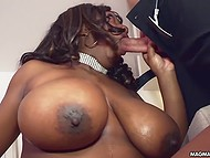 Beau was gone for a while but came back and stuck erect dick in mouth of naked black lass with large melons 5