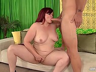 Heady BBW Marcy Diamond with red hair and smooth vagina actively fucks 4