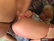 Guys had no mercy on slut Hillary Scott pushing cocks deep in her mouth and practicing double penetration 4