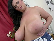 Mature pervert plays with her enormous hooters before puts fingers in lustful twat 6