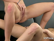 Teenage coquettes with slender bodies pee on each other and tease pussies with sex toys 10